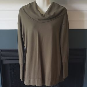 Sage Green Cowl Neck Long Sleeves Tunic Top XL
